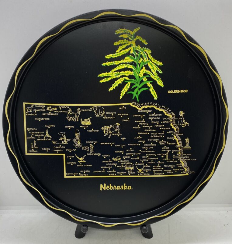 Vintage 1950's 1960's Travel Souvenir Collectible Nebraska State Map Tin Tray