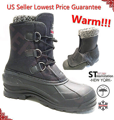 Waterproof Lining (Men's Black Winter Snow Boots Shoes Warm Lined Thermolite Waterproof 10