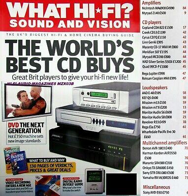 WHAT HI-FI SONY AVD-550 MARANTZ SR4300 REGA ELA QUAD 99CD MARANTZ CD-17 MKII
