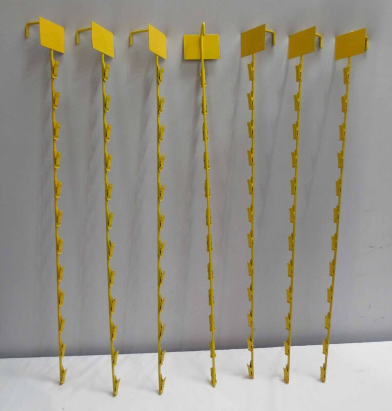 7 pc. Yellow Metal 12 Clip On Display Potato Chip (or other items) Rack