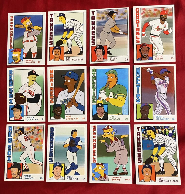 THE SIMPSONS Homer At The Bat ACEO Softball Baseball Card DELUXE Set