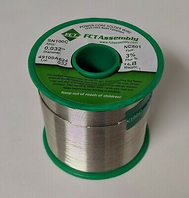 1lb Sn100c .032 Dia. Fct Assembly Wire Solder 3 No Clean Flux Nc601 Lead Free