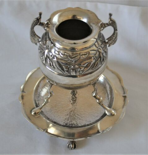 Vintage Hand Hammered 900 Silver Cup on Stand for Yerba Mate Chile Chilean
