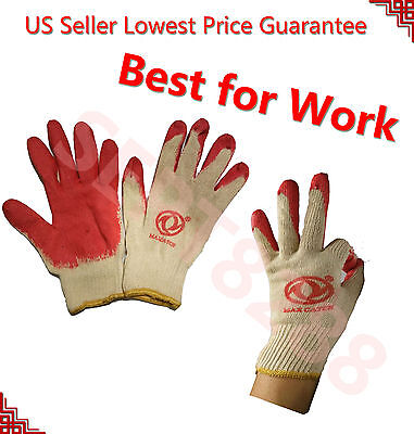 Wholesale 240pc Premium Quality Red Latex Work Gloves Palm Coat Fit&Tight