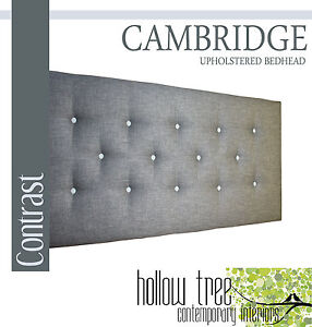 CAMBRIDGE Contrast Buttoned Upholstered Bedhead for King Single Ensemble