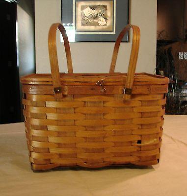 Antique Woven Oak Picnic Basket, 2 Handle, Hinged Lid, with Pie Shelf