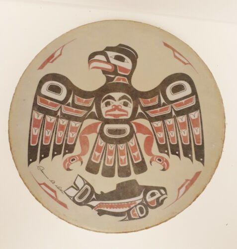 """Northwest Coast Haida Indian Thunderbird HAND DRUM Signed Clarence A Wells 11"""""""