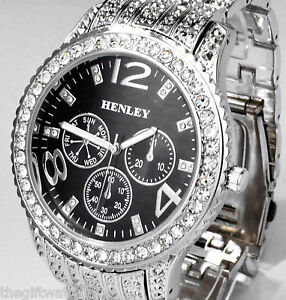 Henley Gents Sparkly Crystal Bling Watch Mega Big Black Face Silver Tone Strap