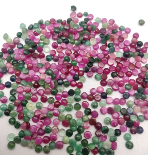 Natural Emerald Ruby Blue Sapphire Round Loose Cabochon Lot 113 Pcs 5 MM 75 CT
