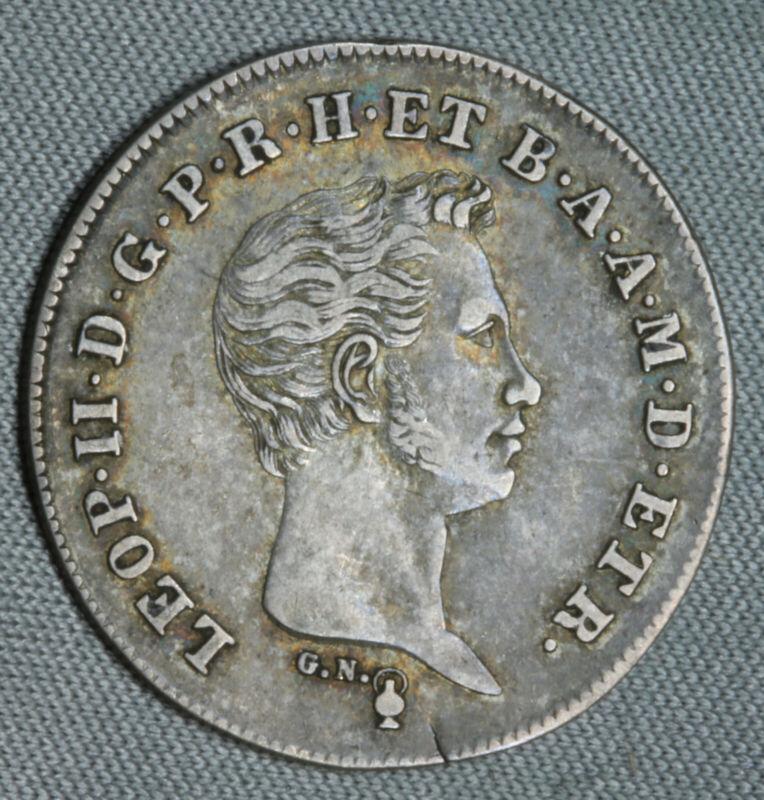 1831 Italian States Tuscany Paolo XF + EF Nice Grade Toned World Silver SK205