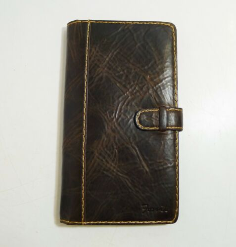 Fossil Brown Distressed Leather Business Card ID Credit Card Holder