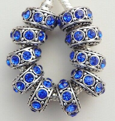 10 Blue Stone Antique Silver Band Spacers European Style 6*12 & 5 mm Hole -