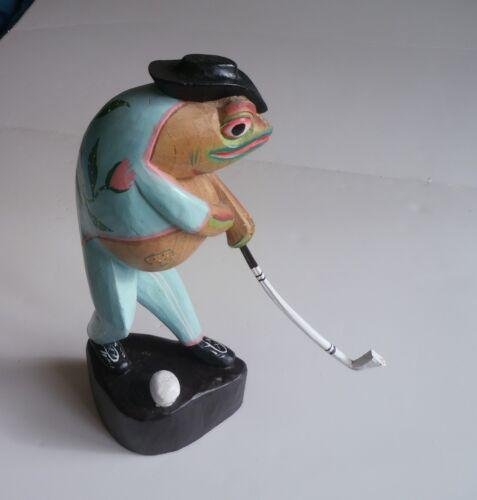 Frog Golfer, Wood Statue, Folk Art, Hand Carved
