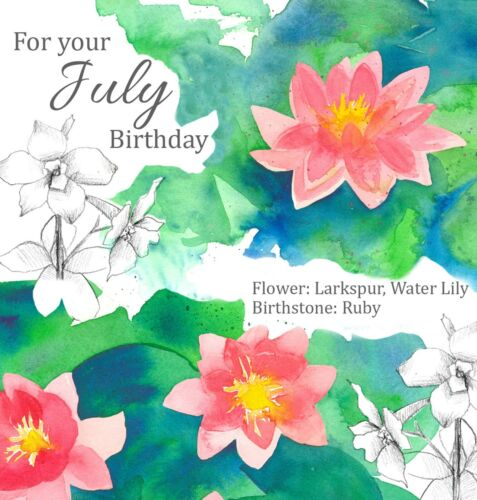 Happy July Birthday Water Lily Watercolor Greeting Card Botanical Flower