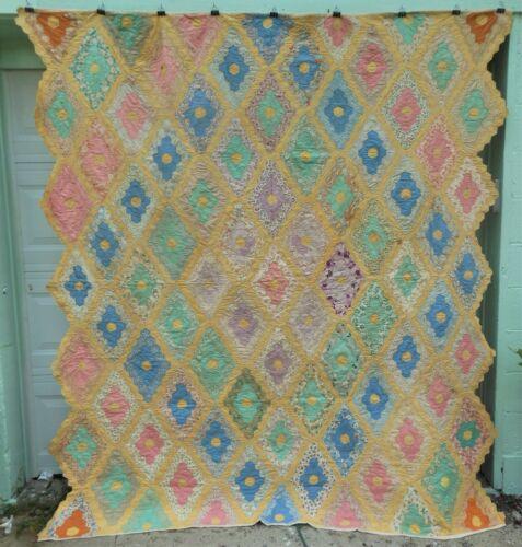 Very Nice Antique Flour Sack Diamond Garden Quilt, Hand Stitched