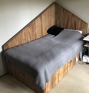 KING SINGLE wooden bed frame with drawers and LED lights