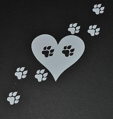 15CM PAWS HEART HUSKY STICKER DECAL DOG LABRADOR TERRIER COLLIE MALAMUTE PUPPY