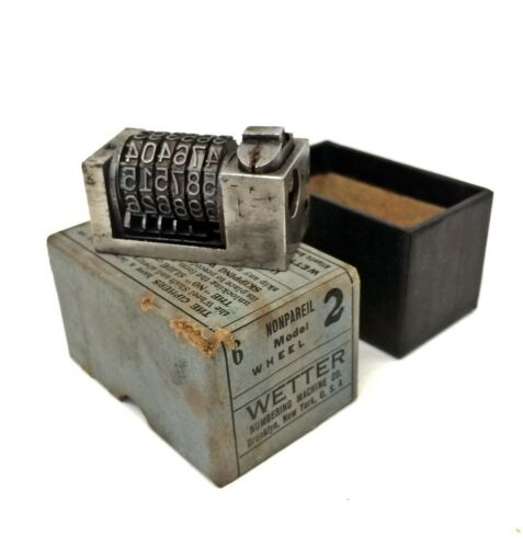 Vintage Letterpress Numbering Machine WETTER Model 2 Nonpareil 6 Digit Forward