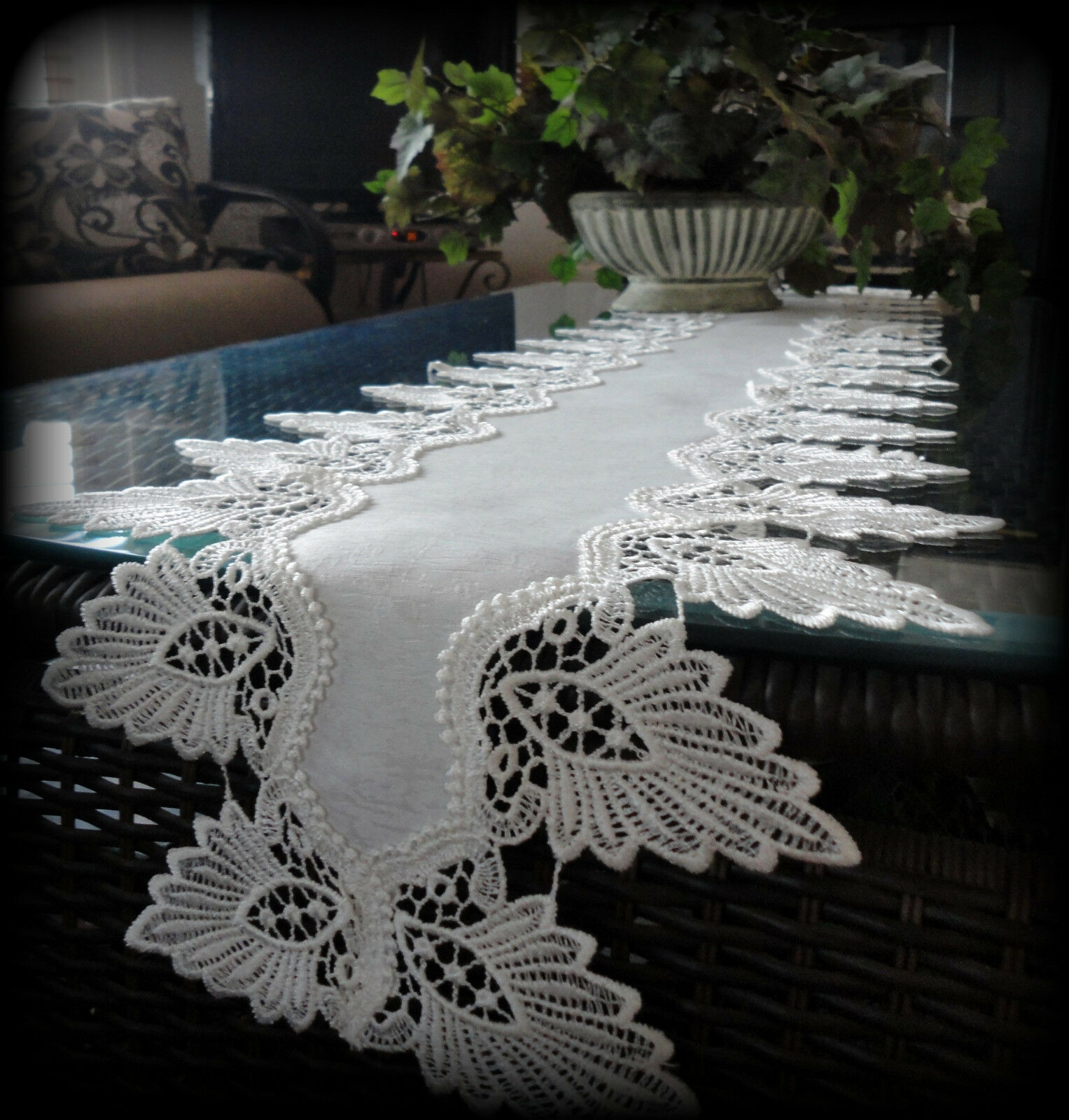 Купить Antique White Dresser Scarf 64 Formal European Lace Mantel Scarf  Runner Doily