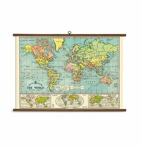 Vintage school map ebay cavallini papers world map vintage school chart gumiabroncs Images