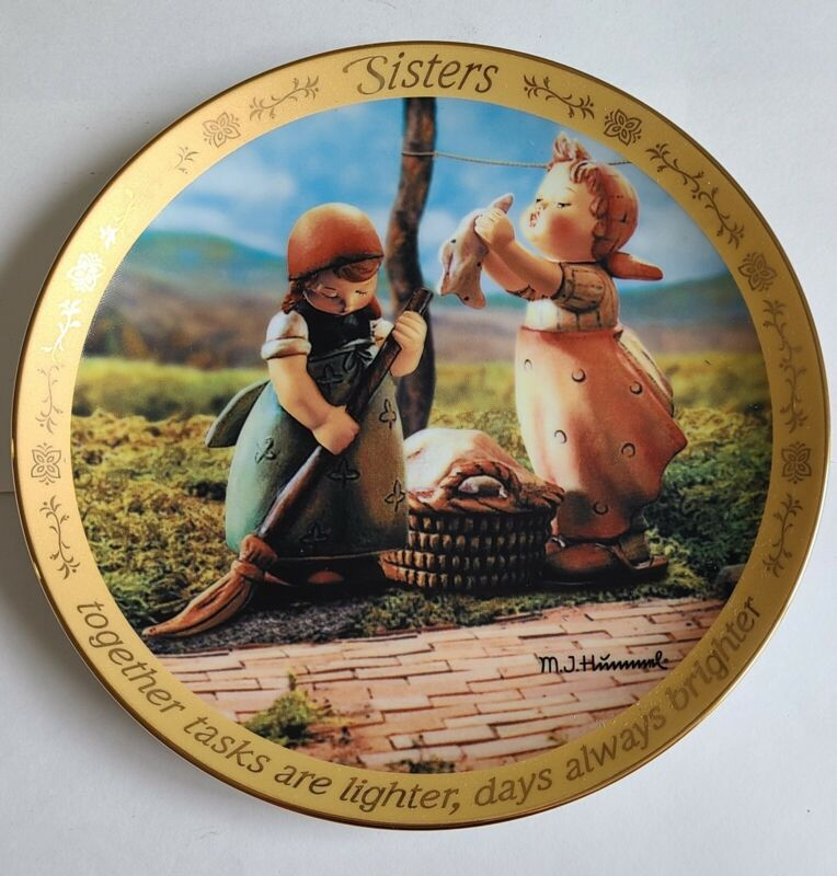 M.J. Hummel Together Days Are Always Brighter Sisters Plate Danbury Mint A6652