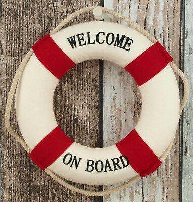 """Rettungsring 15 cm rot/weiß """"Welcome on Board"""" maritime Dekoration Fischernetz"""