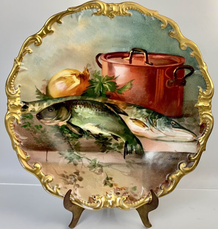 "Limoges France Charger/Plaque Handpainted/Artist Signed Dumas 13 1/8"" Fish"