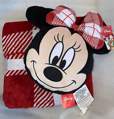 NEW Christmas Disney Minnie Mouse Pillow & Fleece Blanket Set Red Black Travel