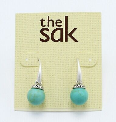 The Sak New Silver Tone Semi Precious Turquoise Bead Drop Earrings #SAK3