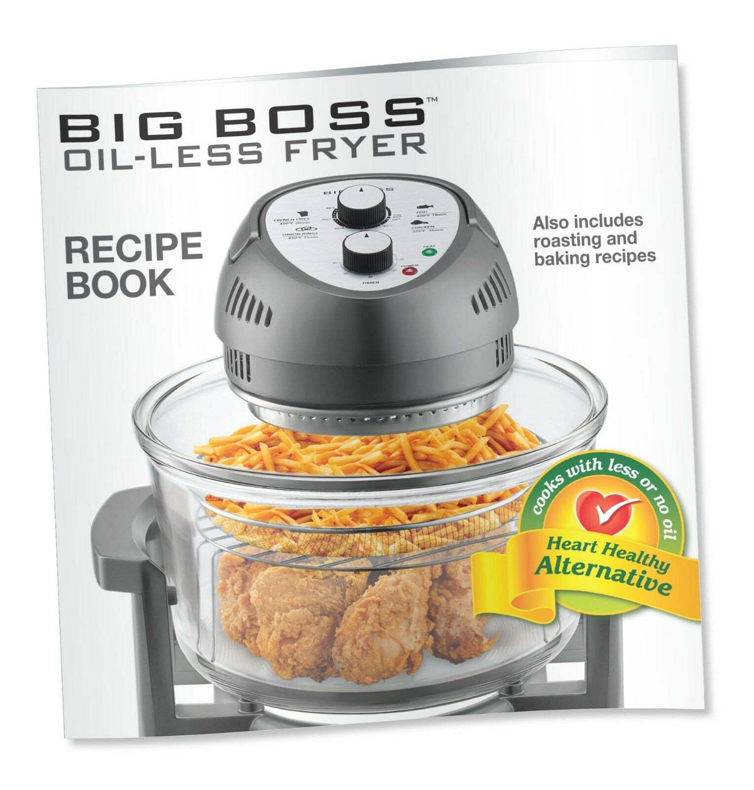 Купить Big Boss - Big Boss Air Fryer Healthy 1300W XL 16-Quart + 50 Recipe Cookbook, 7 Colors!