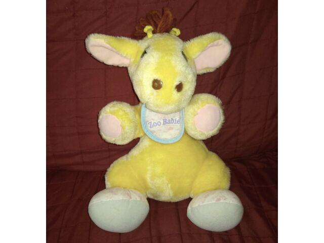 Vintage Tonka Zoo Babies GIRAFFE Yellow Soft 12in Sitting Plush Stuffed Animal