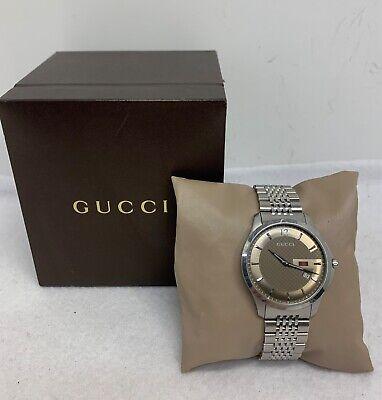 GUCCI Slim G-Timeless Pattern Brown Dial Date 126.3 Series Men's Watch w/ Box