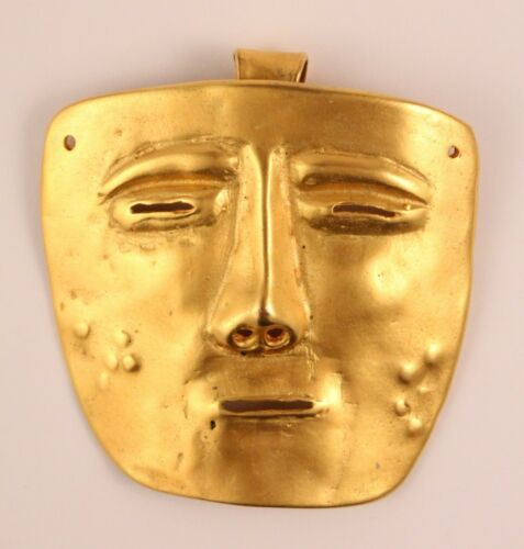 Golden Abstract Mask Face Brooch & Pendant Signed