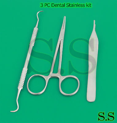 3 Pc Dental Stainless Kit Adson Tweezer Moquito Forceps Sickle Scaler Hygien New