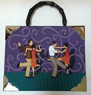 1920s Handbags, Purses, and Shopping Bag Styles Cigar Box Beaded Purse Handbag Roaring Twenties Couples Dancing  $24.99 AT vintagedancer.com