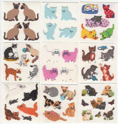 - Vintage Sandylion Fuzzy Cat Kitty Kitten Stickers Calico Tabby - You Choose