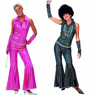 umpsuit schwarz o. pink Damen Party Kostüm 70 er Jahre  (Disco Jumpsuit)
