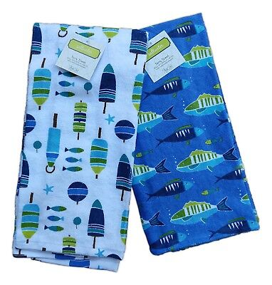 Set of 2 Nautical SALTWATER Fish & Buoy Terry Kitchen Towels by Kay Dee ()
