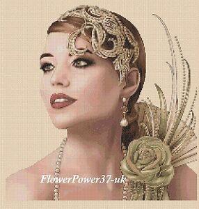 Cross stitch chart  Art Deco Lady 177  FlowerPower37-UK-..FREE UK P&P..