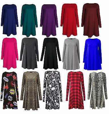 WOMENS PLAIN SWING DRESS SKATER TOP LADIES SKULL ROSE COMIC PRINT XMAS SWING HQ