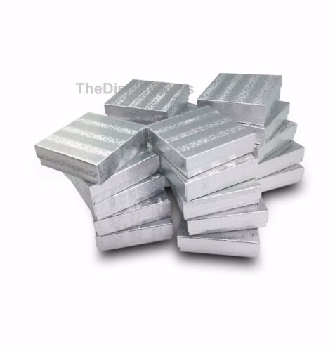 """US Seller~12 pcs 3 1/2""""x3 1/2""""x1"""" Silver Cotton Filled Jewelry Gift Boxes"""