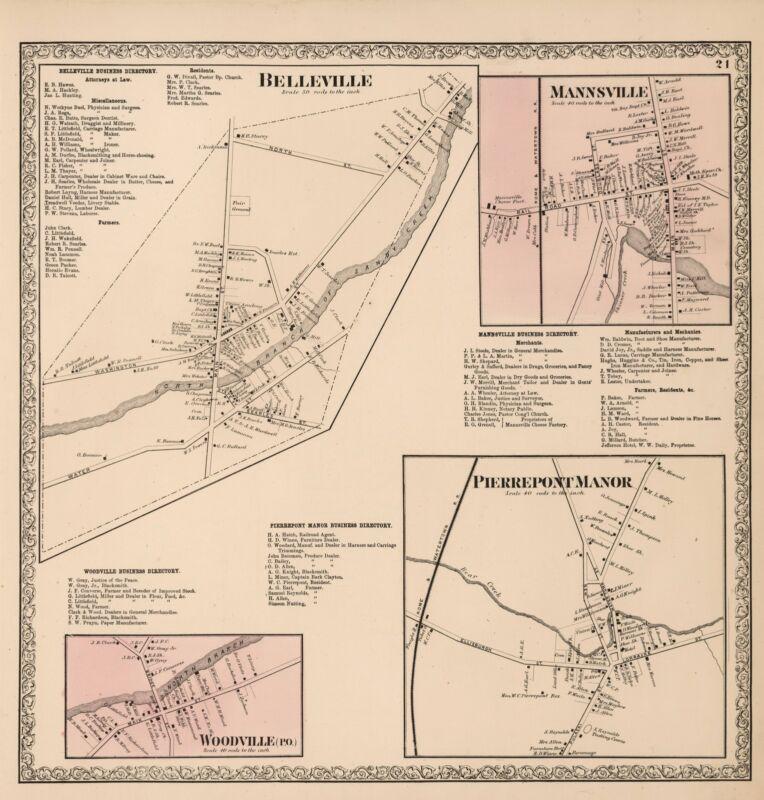 1864 NEW YORK JEFFERSON COUNTY Atlas maps old plats GENEALOGY LAND OWNER DVD P42