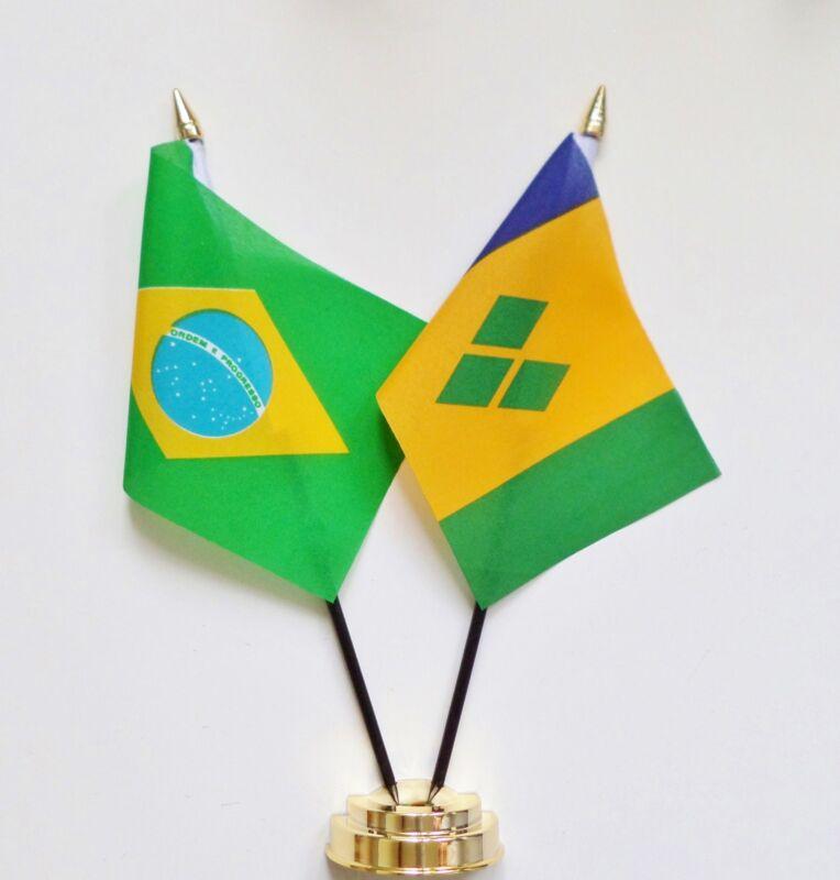 Brazil & St Vincent & The Grenadines Double Friendship Table Flag Set