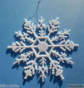 10-pieces-Pearlized-AB-Aurora-Borealis-4-Glittered-Plastic-Snowflake-Ornaments