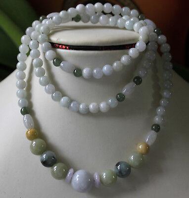 - 100% Natural JADE (Grade A) Untreated Multi-Color Jadeite Handmade Necklace 27