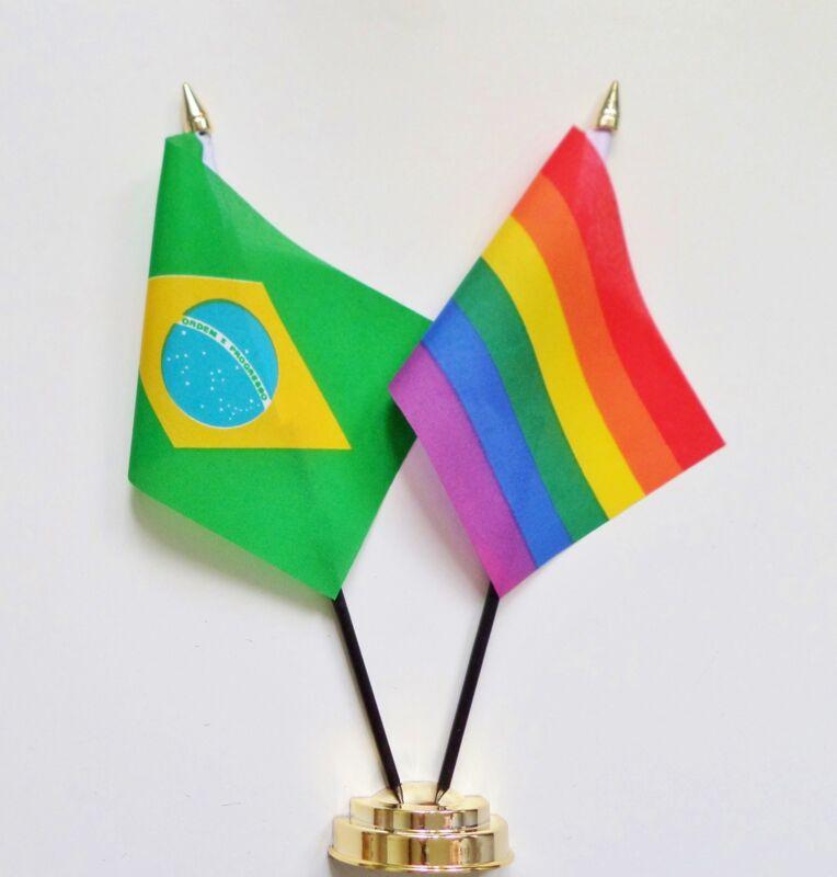 Brazil & Rainbow LGBTQ+ Gay Pride Double Friendship Table Flag Set