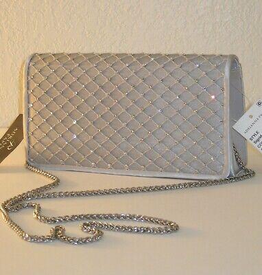 Adrianna Papell Sigrid Gray Silver Jewel Clutch Chain Crossbody Shoulder Bag $92