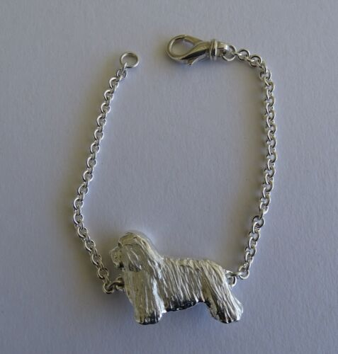 Large Sterling Silver Bearded Collie Standing Study Bracelet