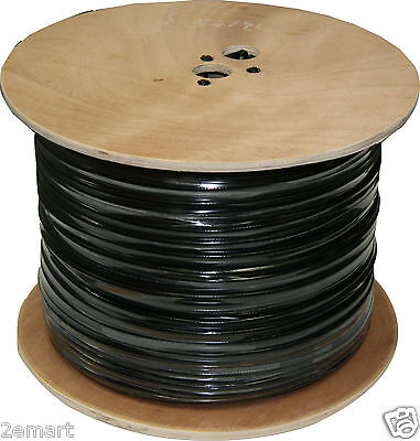 1000 ft RG59 Solid Copper Siamese CCTV Cable Video & Power Black Color