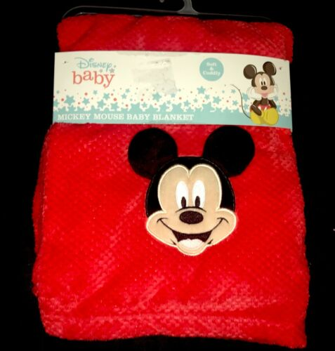 """New!! Baby Boys Red Plush """"Mickey Mouse"""" BLANKET sz 30"""" x 40"""" NWT"""